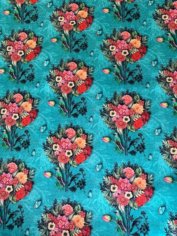 Motif tissu coton bouquet fleurs bleu