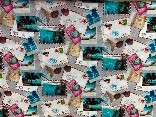 Motif tissu coton cartes postales gris