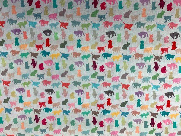 Motif tissu coton chats multicolore