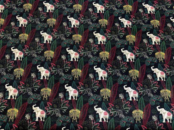 Motif tissu coton éléphants noir