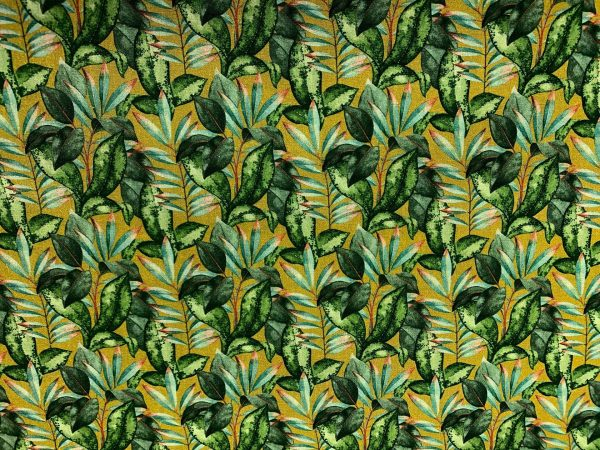 Motif tissu coton feuilles vert