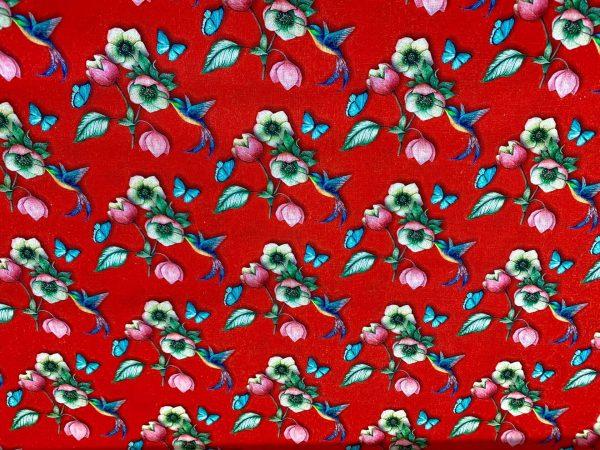Motif tissu coton oiseau et fleur rouge