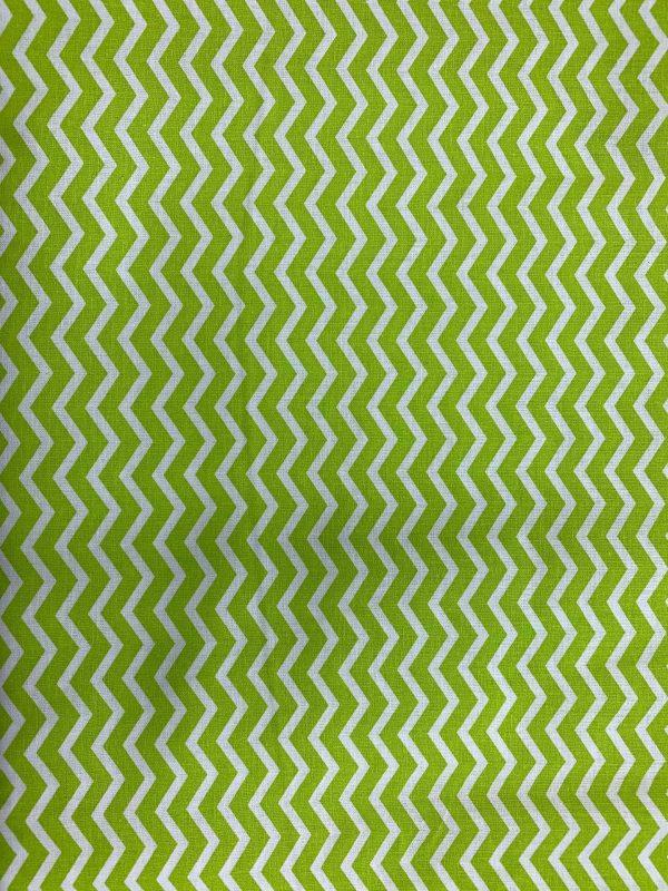 Motif tissu coton zigzag vert