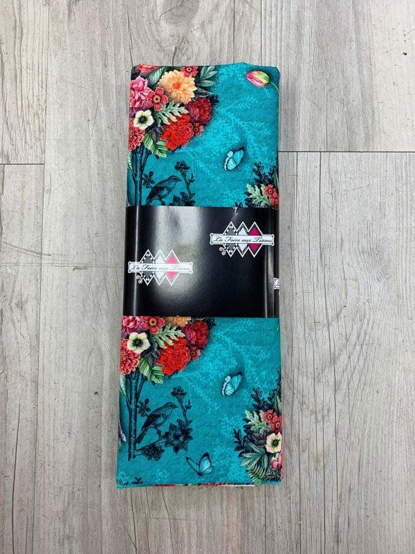 Tissu coton bouquet fleurs bleu