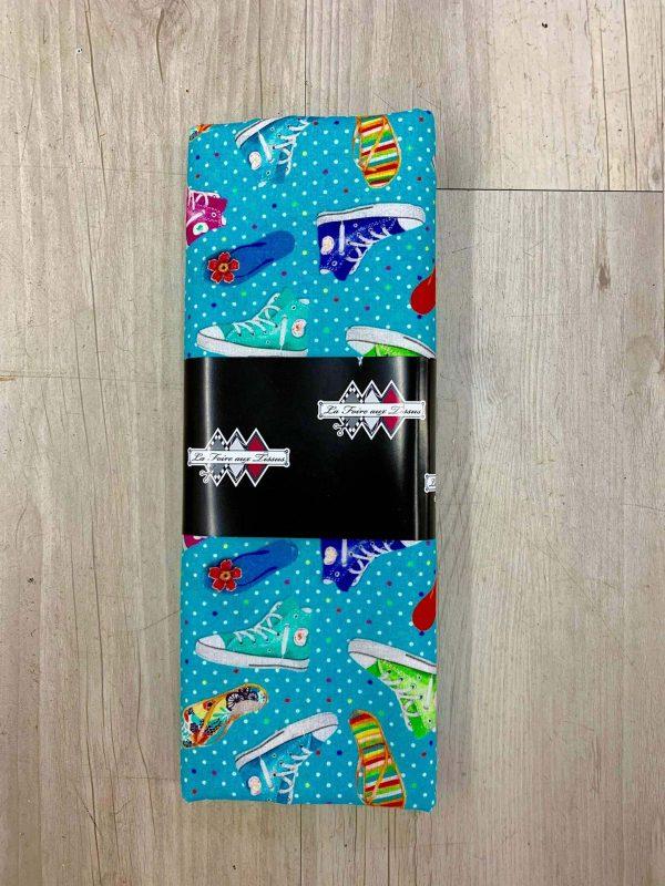 Tissu coton chaussures bleu
