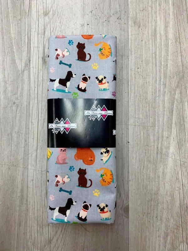 Tissu coton chiens gris