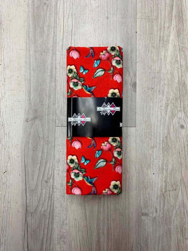 Tissu coton oiseau et fleur rouge