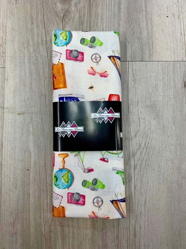 Tissu coton vacances blanc