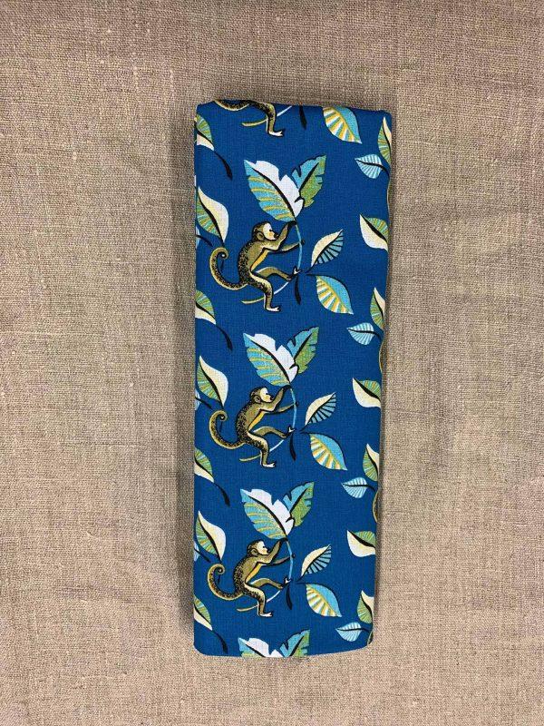 Tissu coton bleu motif singe